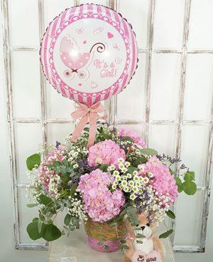 Centro de flores Belice con globo y peluche